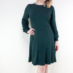 LOFT Dark Green Fit and Flare Knit Dress 47